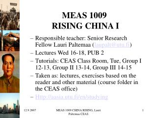 MEAS 1009  RISING CHINA I