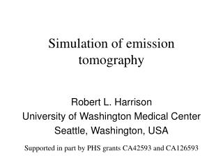 Simulation of emission tomography