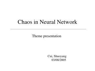 Chaos in Neural Network