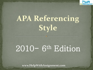 Changes in 2010 Sixth Edition - APA Format