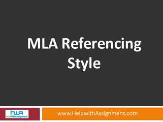 MLA Referencing guideline