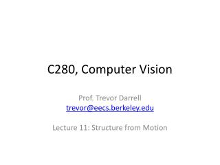 C280, Computer Vision