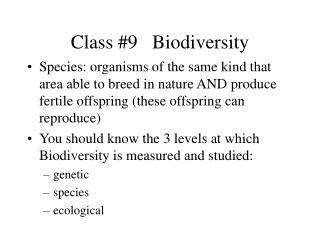 Class #9 Biodiversity