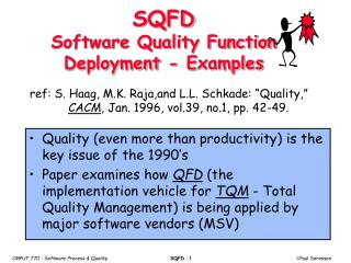SQFD Software Quality Function Deployment - Examples