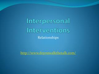 Interpersonal Interventions