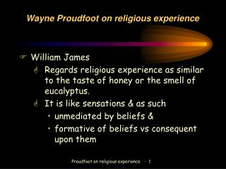 Wayne Proudfoot on religious experience