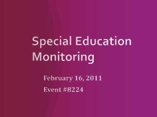 Special Education Monitoring