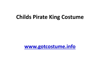 Childs Pirate King Costume