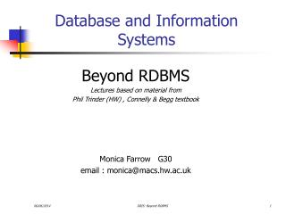 Database and Information Systems