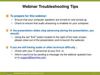 Webinar Troubleshooting Tips