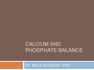 calcium and phosphate balance