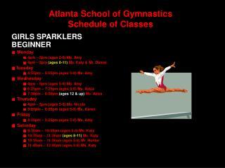 Atlanta School of Gymnastics Schedule of Classes