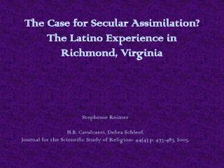 The Case for Secular Assimilation? The Latino Experience in Richmond, Virginia