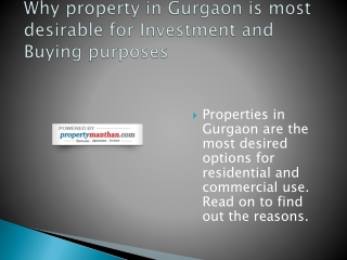 Why property in Gurgaon is most desirable for Investment and
