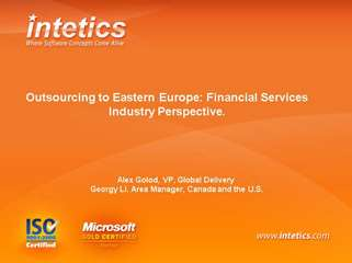 Outsourcing to Eastern Europe: Financial Services Industry P