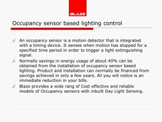 occupancy based sensors by blaze
