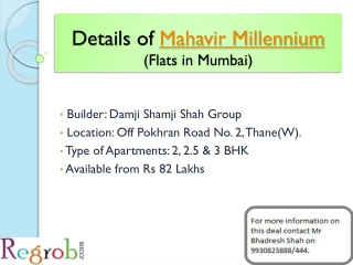 Mahavir Millennium in Thane, 2, 2.5 & 3 BHK Flats, 82 Lakhs