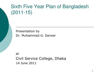 Sixth Five Year Plan of Bangladesh (2011-15)