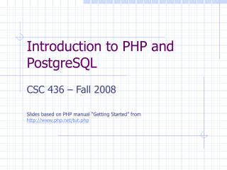 Introduction to PHP and PostgreSQL