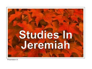 Studies In Jeremiah