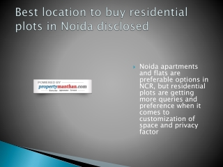 Best location to buy residential plots in Noida disclosed