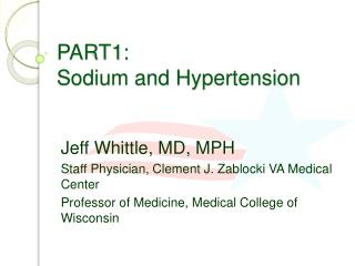 PART1:  Sodium and Hypertension