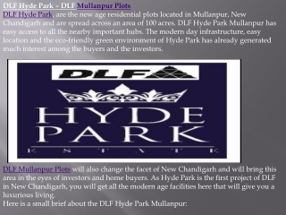 Mullanpur Plots, DLF Hyde Park Chandigarh- 91-8130491122