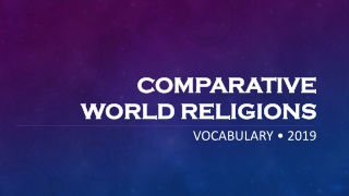 Comparative Religion: Basic Vocabulary and Etymology