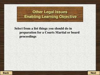 Other Legal Issues Enabling Learning Objective