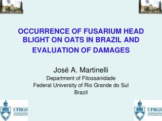 OCCURRENCE OF FUSARIUM HEAD BLIGHT ON OATS IN BRAZIL AND EVALUATION OF DAMAGES