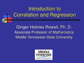 Introduction to Correlation and Regression