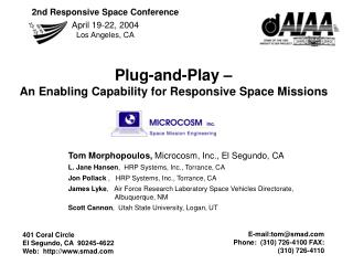 Plug-and-Play    An Enabling Capability for Responsive Space Missions