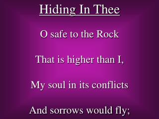 Hiding In Thee