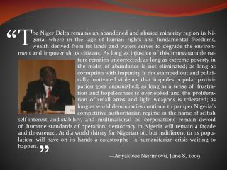 Democracy under Fire  in the Niger Delta