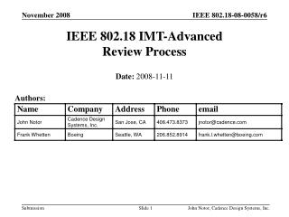 IEEE 802.18 IMT-Advanced  Review Process