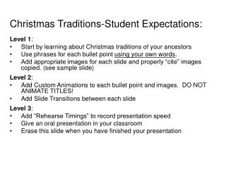 Christmas Traditions-Student Expectations: