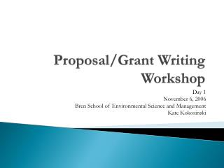 Proposal/Grant Writing Workshop