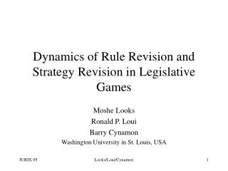Dynamics of Rule Revision and Strategy Revision in Legislative Games