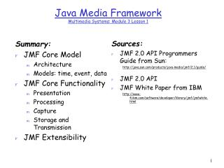 Java Media Framework Multimedia Systems: Module 3 Lesson 1