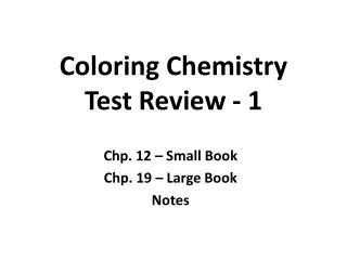 Coloring Chemistry Test Review - 1