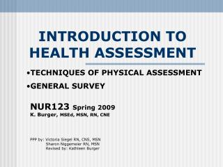 INTRODUCTION TO HEALTH ASSESSMENT