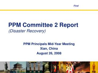 PPM Committee 2 Report (Disaster Recovery)