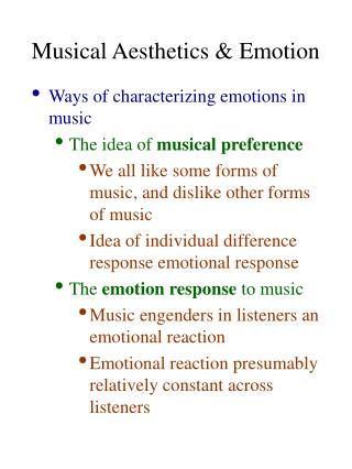 Musical Aesthetics & Emotion