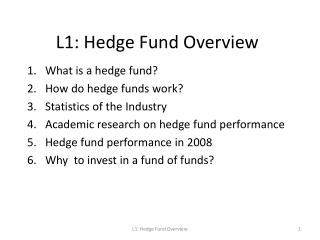 L1: Hedge Fund Overview