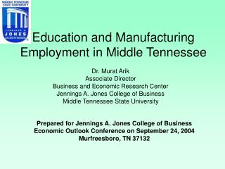 Education and Manufacturing Employment in Middle Tennessee