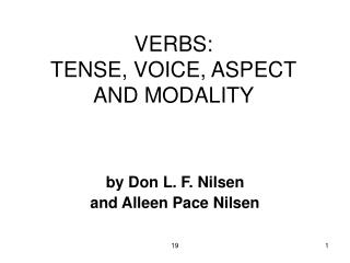 VERBS:  TENSE, VOICE, ASPECT AND MODALITY