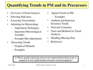 Quantifying Trends in PM and its Precursors