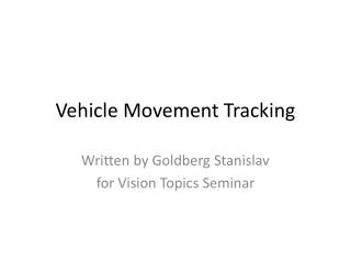 Vehicle Movement Tracking