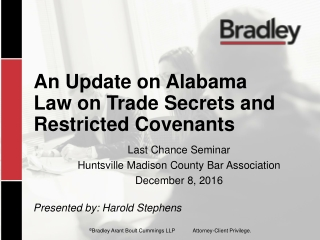 An Update on Alabama Law on Trade Secrets and Restricted Covenants