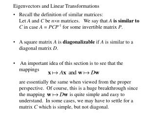 Eigenvectors and Linear Transformations